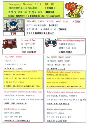 外国人向け119番(火災・救急)通報要領 - 萩市ホームページ