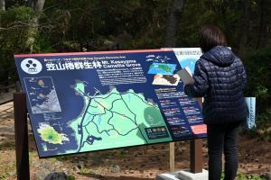 笠山椿群生林の解説板とリーフレットが完成しました